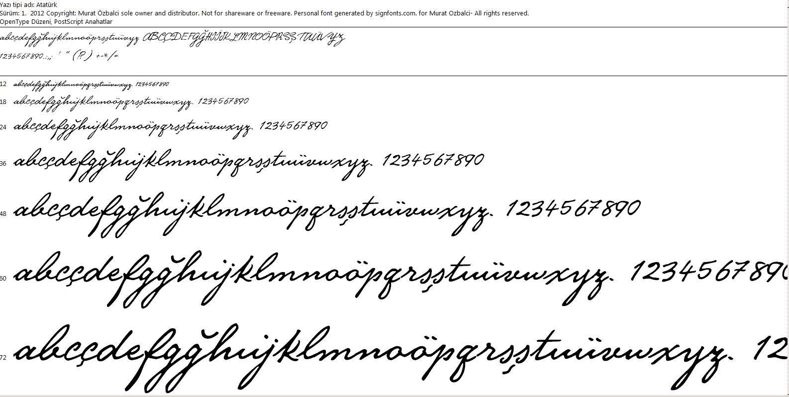 Mustafa Kemal Atatürk Imzası Yazı Tipi Font Atatürk El Yazısı