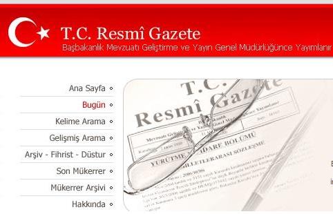 11 Mart 2013 Tarihli ve 28584 Sayılı Resmî Gazete